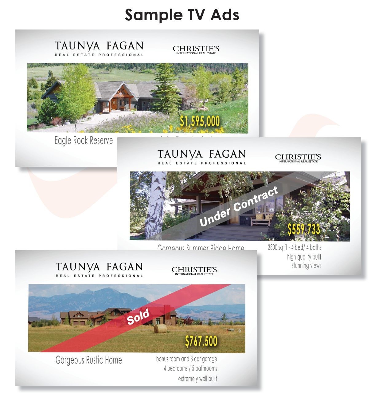 Taunya Fagan Bozeman Real Estate TV Ads, Video Marketing