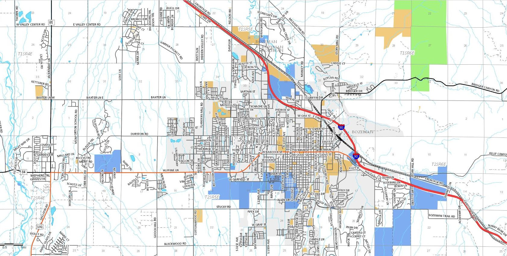 Bozeman Subdivisions and Bozeman Street Map
