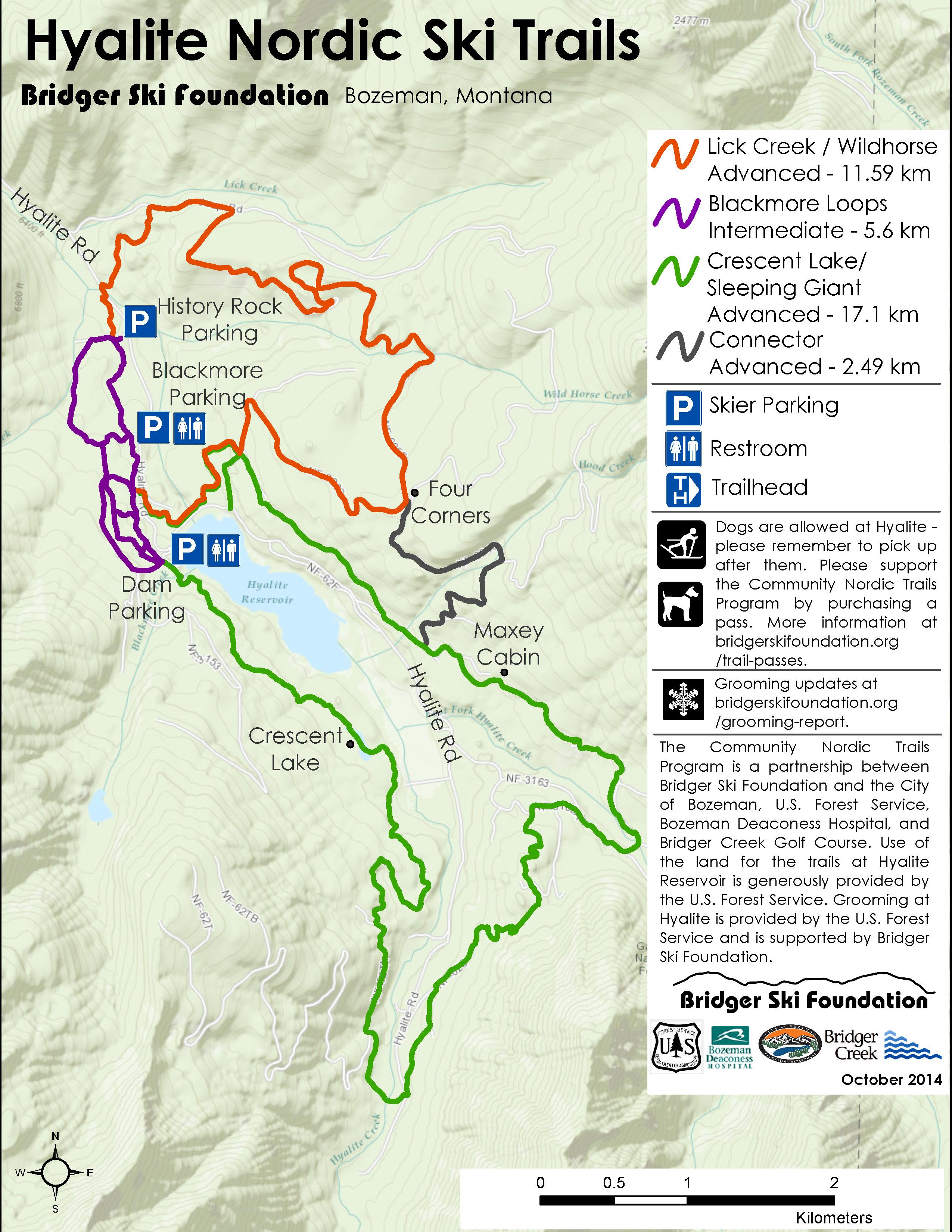 Hyalite Lake Ski Map, Bozeman Montana - Julie Carson Photo