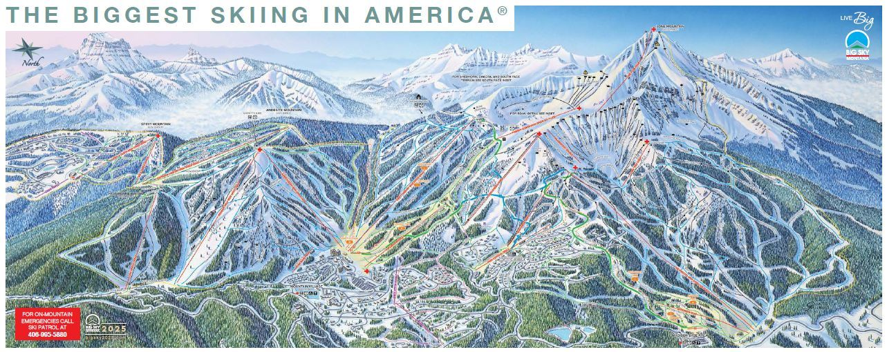 Montana's Big Sky Ski Area Trail Map