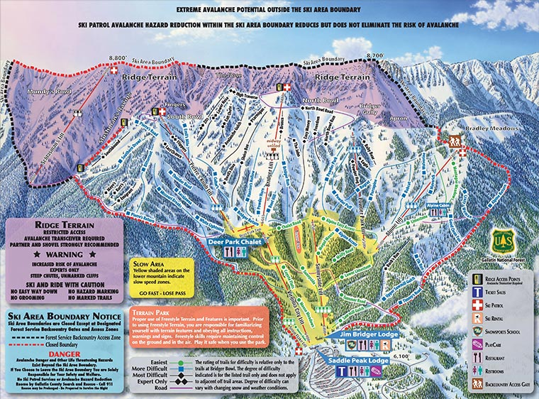 Bozeman Skiing: Bridger Bowl Mountain Ski Area Map