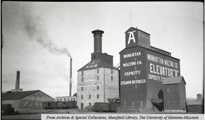 Manhattan Malting Company grain elevator, Circa 1910- Montana Memory Project