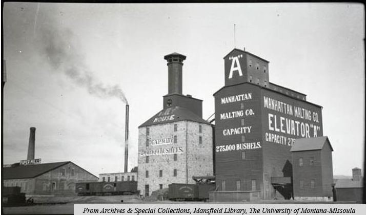 Photo Manhattan Malting Company grain elevator, Circa 1910- Montana Memory Project