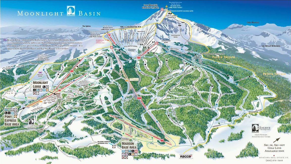Moonlight Basin Ski Area Trail Map