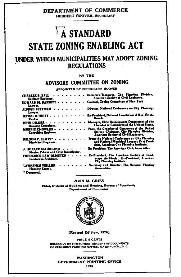 1926 Standard State Zoning Enabling Act (SSZEA)