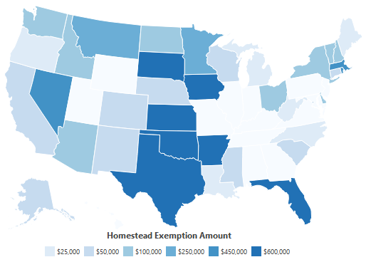 Homestead Exemptions By State 2020 from World Population Review
