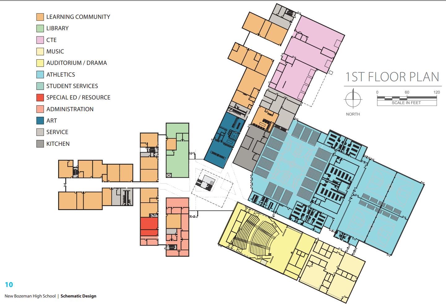 Gallatin High School, Bozeman, Map First Floor Plan
