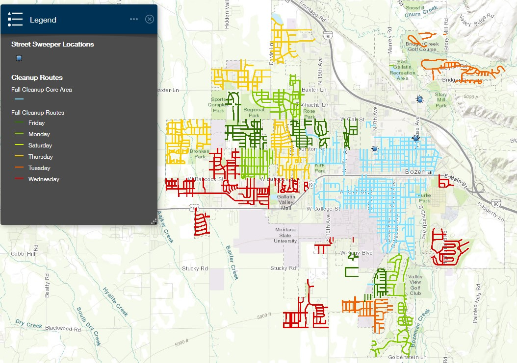 City of Bozeman Fall Leaf Collection Map 2020