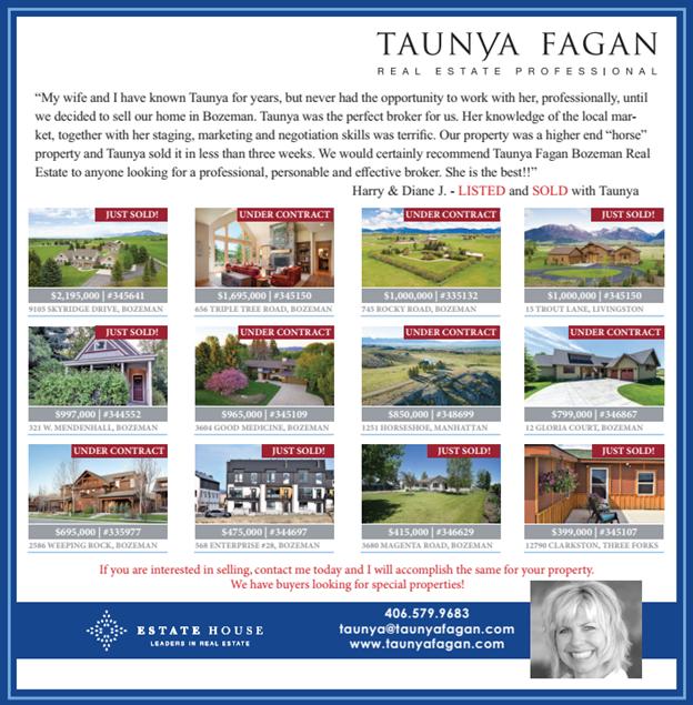 Taunya Fagan Bozeman MT Real Estate Newspaper Ad