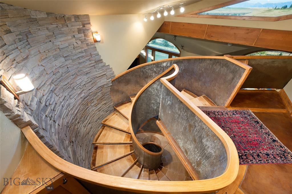 Photo: Spiral Staircase 122 S Big Elk Meadow, Gallatin Gateway, Montana Mountain Home